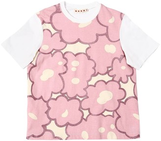 Marni Junior Flower Print Cotton Jersey T-Shirt
