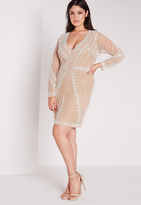 Missguided Plus Size Embellished Dress Nude