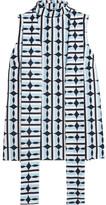 Miu Miu Printed Cotton Turtleneck Top - Sky blue