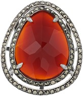 Lavish By Tjm Lavish by TJM Sterling Silver Red Agate & Marcasite with White Topaz Ring