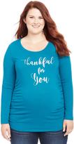 Motherhood Plus Size Thankful For You Graphic Maternity Tee