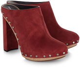 Proenza Schouler Burgundy Suede Heel Botty Clogs