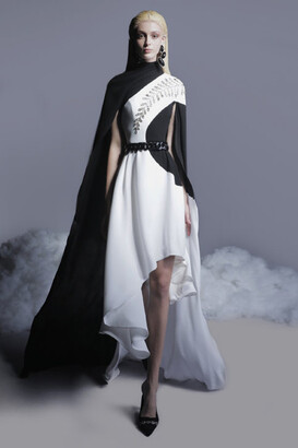 GEORGES HOBEIKA Crepe Dress with Cape Sleeves