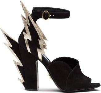 Prada thunderbolt detail sandals