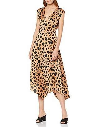 Warehouse Women's Cowl Back Satin Animal Print Party Dress, (Brown 95), (Size:)