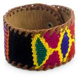 Leather Bracelet with Maya Weaving, 'Freedom'