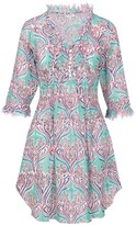 At Last... Cotton Annabel Tunic- Aqua Pattern