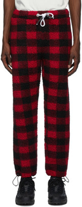 Palm Angels Black and Red Buffalo Pile Pants