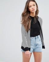 Daisy Street Stripe Zip Front Cardigan
