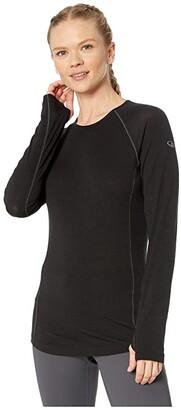 Icebreaker 150 Zone Merino Baselayer Long Sleeve Crew (Black/Mineral) Women's Clothing