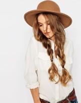 Brixton Wide Brim Felt Hat With Contrast Leather Trim