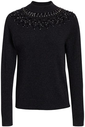 Saks Fifth Avenue COLLECTION Mock-Neck Embellished Cashmere Sweater