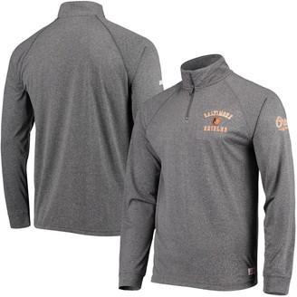 Stitches Men's Heathered Black Baltimore Orioles Team Quarter-Zip Raglan Pullover Jacket