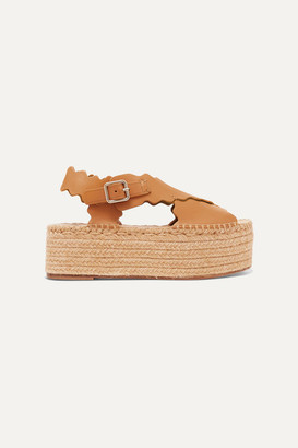 Chloé Lauren Scalloped Leather Espadrille Platform Sandals - Camel