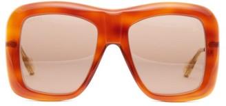 Gucci Square Acetate And Metal Sunglasses - Womens - Tortoiseshell