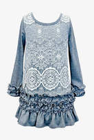 Baby Sara Grey Ruffle-Lace Dress