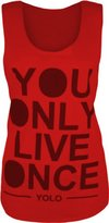 Cima Mode Women's Yolo Sleeveless Vest You Only Live Once Print Muscle Back Top