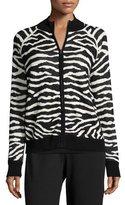 Joan Vass Zebra-Print Zip-Front Jacket, Plus Size
