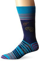 Bugatchi Men's Paisley Stripe Fancy Sock