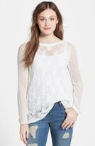 Jessica Simpson 'Lars' Wrap Back Mix Stitch Sweater