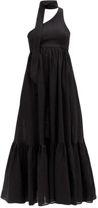 Zimmermann One-shoulder Sash-neck Linen Midi Dress - Black