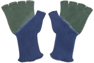 The Elder Statesman Green and Blue Hot Fingerless Gloves