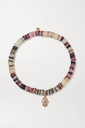 Sydney Evan Small Rainbow Hamsa 14-karat Gold Multi-stone Bracelet - one size