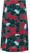 Marni Leaf-print A-line Crepe Skirt - Womens - Green Multi
