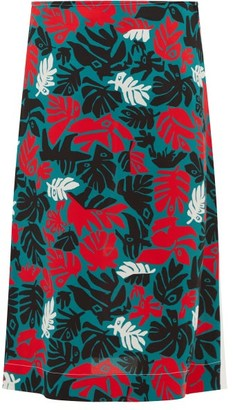 Marni Leaf-print A-line Crepe Skirt - Womens - Green Multi