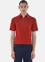 Wales Bonner Men's Abdre Zipped Polo Shirt In Rust