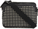 Alexander McQueen Mens Black Studded Luxe Leather Shoulder Bag