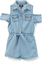 Dollhouse Light Blue Wash Denim Romper - Girls