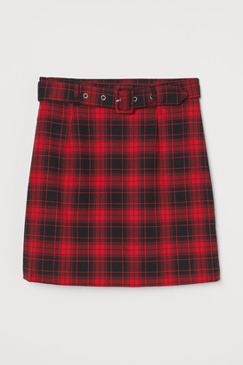 H&M Short Skirt with Belt - Red