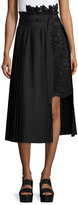 Sacai Asymmetric Pleated Lace Combo Midi Skirt, Black