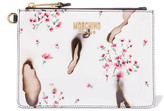 Moschino Printed Patent-leather Clutch - White