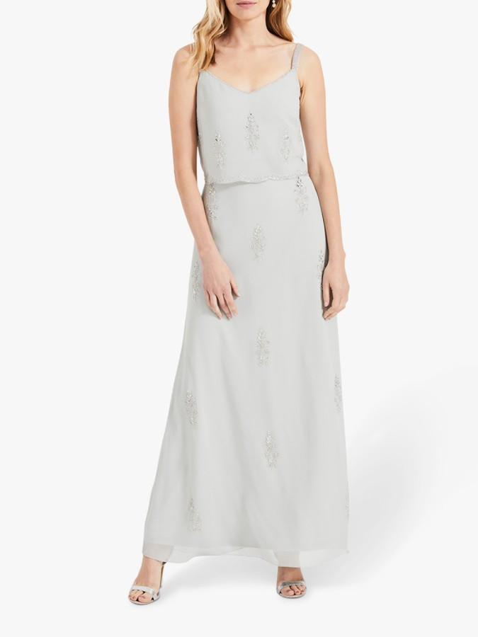Phase Eight Agustina Beaded Maxi Bridesmaid Dress, Duck Egg