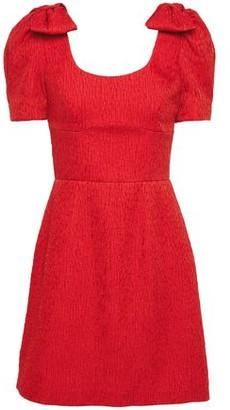Rebecca Vallance Bow-embellished Cloque Mini Dress