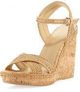 Stuart Weitzman Pixie Woven Cork Wedge Sandal, Camel