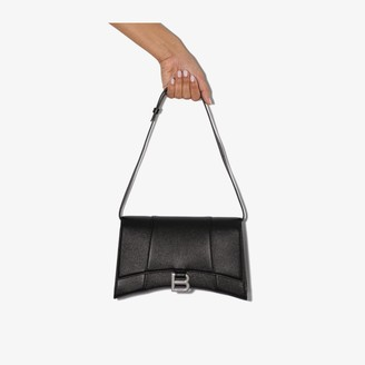 Balenciaga black Hourglass mock croc leather shoulder bag