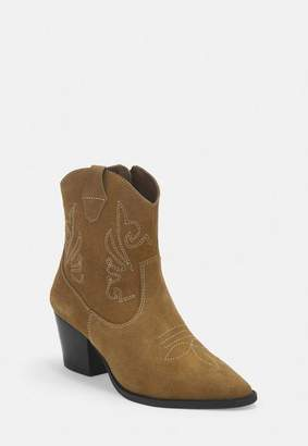 Missguided Tan Real Suede Western Ankle Boots