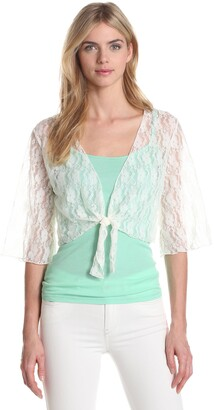 Star Vixen Women's 3/4 Sleeve Lace Tiefront Shrug Sweater