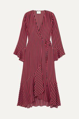 Rixo Laura Jackson Luna Striped Silk-crepe Wrap Dress - Red