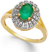 Macy's Emerald (9/10 ct. t.w.) and Diamond (1/8 ct. t.w.) Ring in 14k White Gold