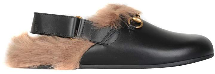 Gucci Fur-trimmed River Leather Slippers