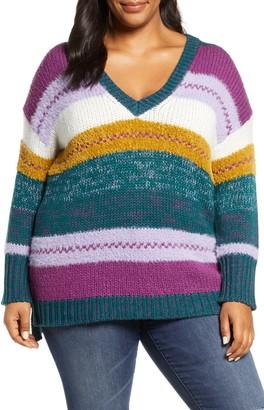Caslon Mixed Stripe V-neck Pullover