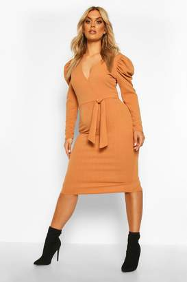 boohoo Plus Draped Sleeve Wrap Detail Midi Dress
