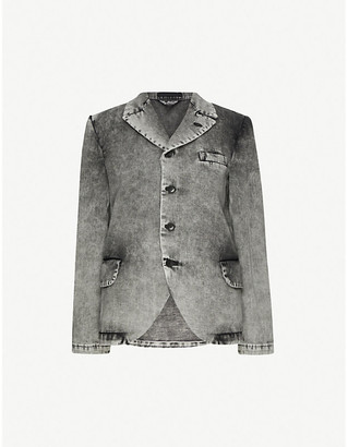Black Comme Des Garcon Single-breasted relaxed-fit denim blazer