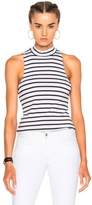 Frame Mock Neck Tank in Blue,White,Stripes.