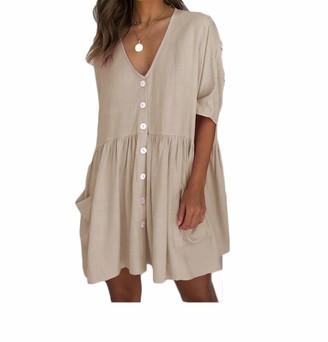 Harri me Women Cotton Linen Button Down Front Pockets Short Sleeve Loose T Shirt Dresses (X-Large