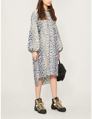 Ganni Leopard-Print Cotton-Poplin Midi Shirt Dress